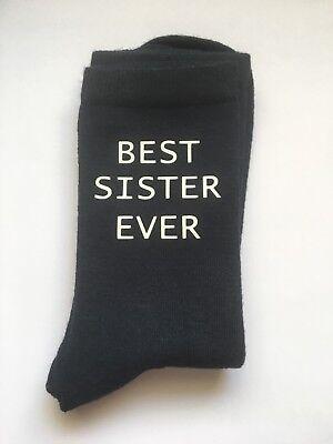 Best Sister Ever Ladies Navy Socks Christmas Gift Vinyl Printed Auntie