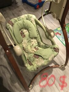 Baby bouncer, swing, chairs, diaper genie.