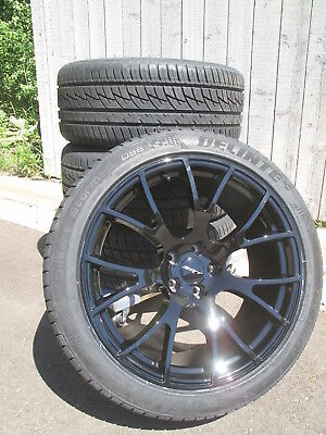 """20"""" NEW FACTORY STYLE DODGE CHARGER SRT HELLCAT GLOSS BLACK 4 WHEELS RIMS TIRES"""