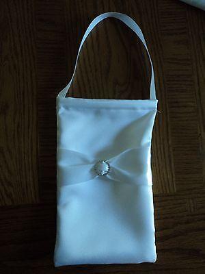 WHITE RHINESTONE WITH BOW WEDDING MONEY BAG DOLLAR DANCE BAG PURSE (Wedding Money Bag)