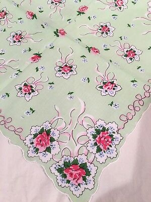 Beautiful Green Rose Bouquet Handkerchief Hankie! LuRay (Luray Collection)
