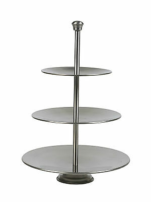 3 Layer Tier Stainless Steel Round Serving Display Cakes Platter Food Stand Rack ()