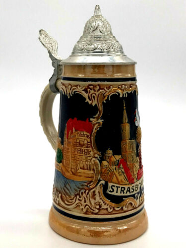 Vintage German Beer Stein Pewter Lidded Strasbourg Made In Germany