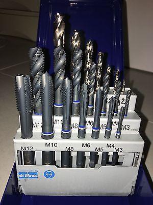Atorn Gewindebohrer Satz HSS M 3 - M 12  Maschinengewindebohrer+Bohrer 21 Teile