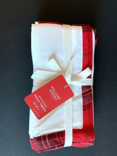 WILLIAMS SONOMA Tartan Border Dinner Napkins White Red CHRISTMAS Winter S/4 NWT