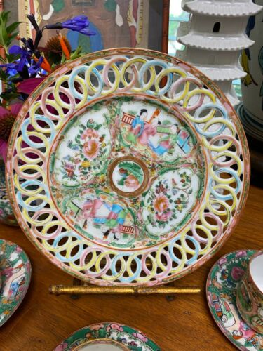 ANTIQUE CHINESE ROSE MEDALLION PORCELAIN RETICULATED PLATE BLUE RED YELLOW RINGS