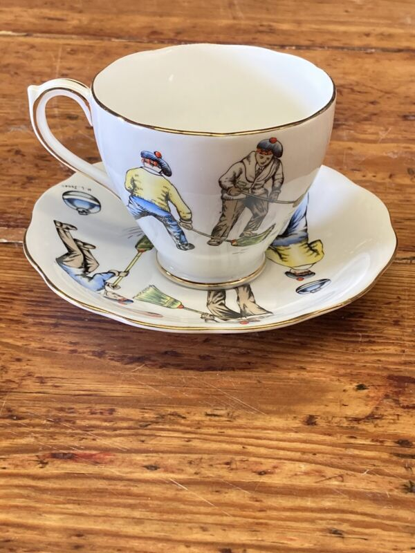 "Vintage ""A CURLING CUP"" Royal Standard Tea Cup Saucer  Bone China Signed"