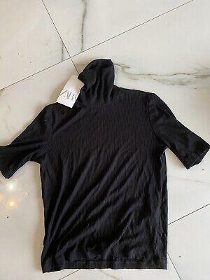 NWD ZARA Woman Black SLIM FIT  T-SHIRT TURTLE NECK Short Sleeve Size S 2317 READ