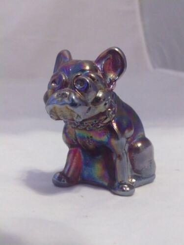 "Summit Westmoreland Mold Small Purple Blue Carnival Glass Bulldog Figurine 2.5"""