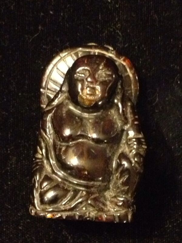 Antique/Vintage Carved Cherry Amber Buddha With Parasol!