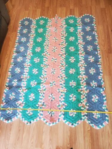 Hexagon Crochet Afghan 4 Colors 47x64