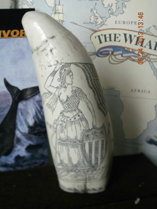 """Scrimshaw SPERM WHALE tooth resin REPRODUCTION """"LADY LIBERTY"""" 6&3/4 """""""