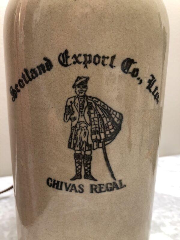 Vintage SCOTLAND EXPORT CO Chivas Regal Scotch Whiskey Stoneware Jug Lamp
