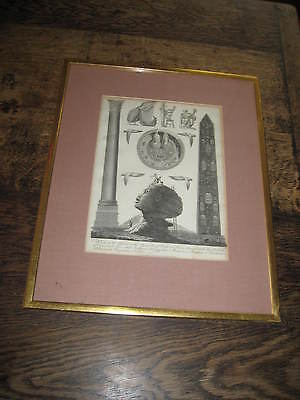 19TH CENTURY ENGRAVING A VIEW OF THE SPHINX AT PYRAMIDS AT GIRCH FRAMED