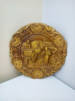 VINTAGE - Hand Carved Wooden Plate Plaque - Wall Hanging - Village Scene - 1950s