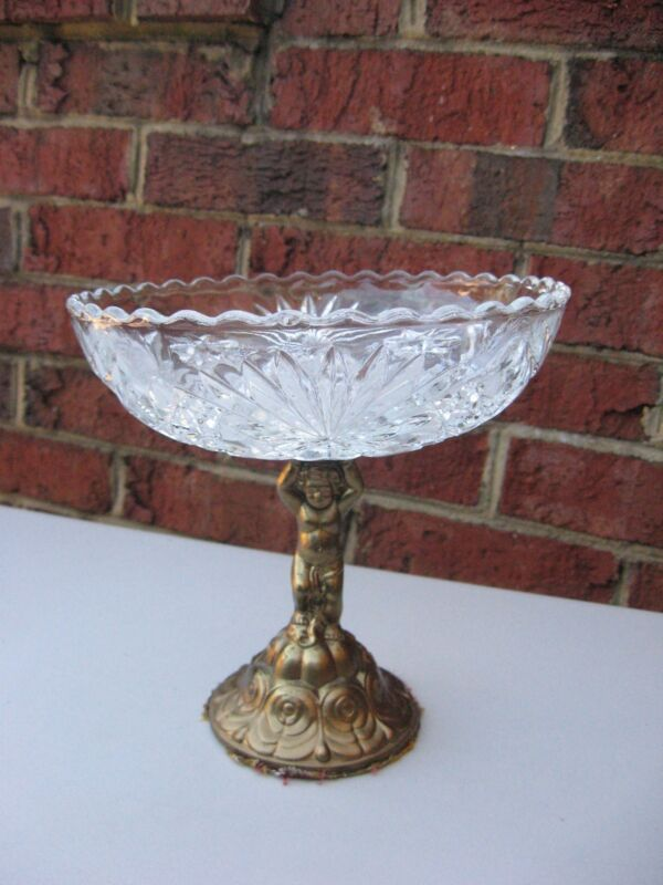 VINTAGE / ANTIQUE PRESSED CUT CRYSTAL & Brass candy holder