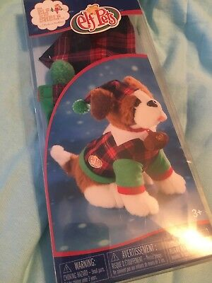 Elf on the Shelf Claus Woven Couture Playful St Bernard PJs Doll Red Green Pet
