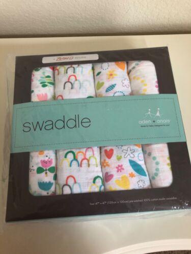 Aden + Anais 4-pack Cotton Muslin Swaddles Zutano Girls New in Box