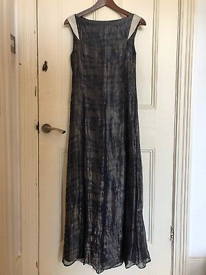 Löwen Camo (Loewe OMG Archive INCREDIBLE 3K Silk Blue Silver Sci Fi Camo Gown Dress 38 8 10)