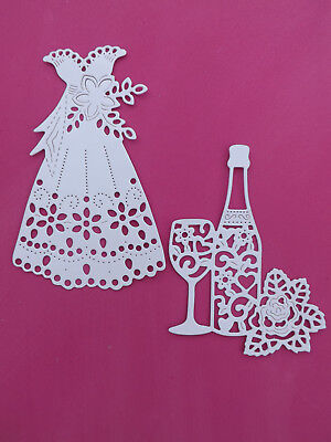 """WEDDING DRESS & CHAMPAGNE"" 8 Die cuts Wedding/Bride/Prom (See postal discount!)"
