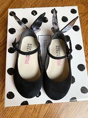 Adorable Sophia Webster Mini Black Suede and Irridesdent Chiara Mini Flats, 22