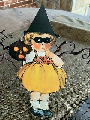 Repro Vintage 1900s Girl in Witch Hat, Halloween Mask Cardstock Decoration, 10
