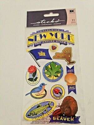 New York State Bird - QQ1:  Sticko New York Scrapbook Stickers - All the State Icons-bird flower flag