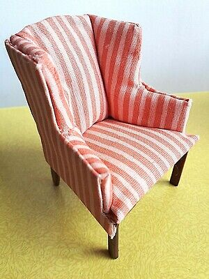 Vintage style dolls house miniature pink  armchair 12th scale , Victorian style