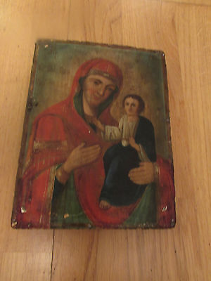 Religious Small Original Oil Painting Painted On A Piece Of Wood