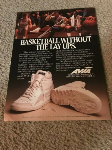 """Vintage 1984 AVIA Basketball Shoes Poster Print Ad 1980s """"WITHOUT LAY-UPS"""" RARE"""