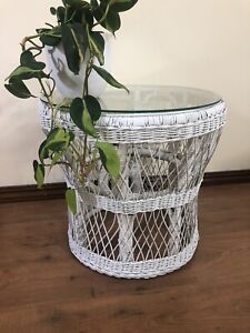 Vintage white cane side coffee table glass top. 500mm diam x 480mm h.