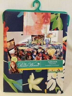 70 Round Tablecloth (Pioneer Woman Fiona Floral Design Tablecloth 70