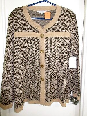 New w/ tag Exclusively Misook 3X Plus Size Sweater Jacket Beige Brown Metallic