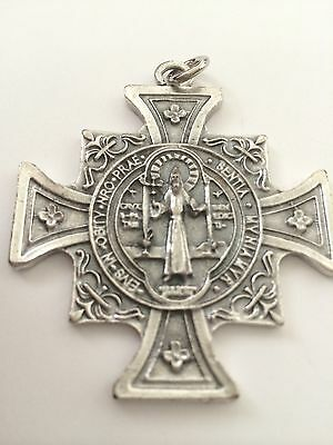 Saint Benedict Huge Double sided Medal Cross Catholic Protection St. OSBR
