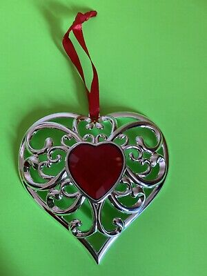 Lenox Gemmed Heart Ornament CHRISTMAS ORNAMENT DECORATIONS SILVER