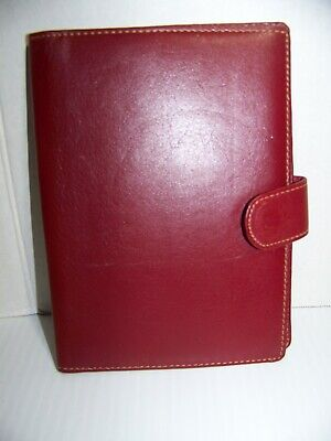 Red Leather Note Pad Binder Portfolio With Brass Retractable Mini Pencil 4 X 6