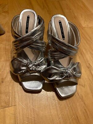 ZARA BASIC COLLECTION SILVER BOW OPEN TOE HIGH HEEL SLIDES MULES sz 37 6.5 NWT