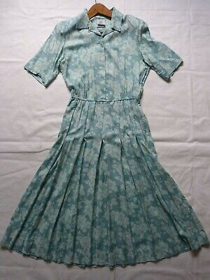 Vintage sz14 Laura Ashley teal summer midi button-through more like dress 12-14