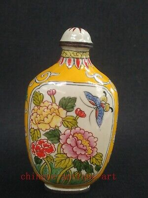 Collection Chinese Old Cloisonne Painting Butterfly Flowers Birds Snuff Bottle
