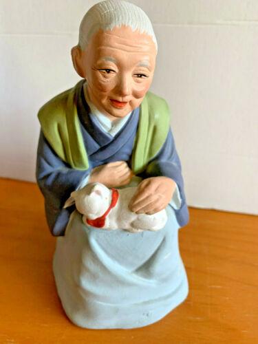 VINTAGE JAPANESE Hakata Pottery OLD Lady holding Cat