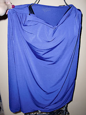 Nwtwomens Chicos Apparel Forward Shoulder Drape Carbon Blue Stretch Top Size1