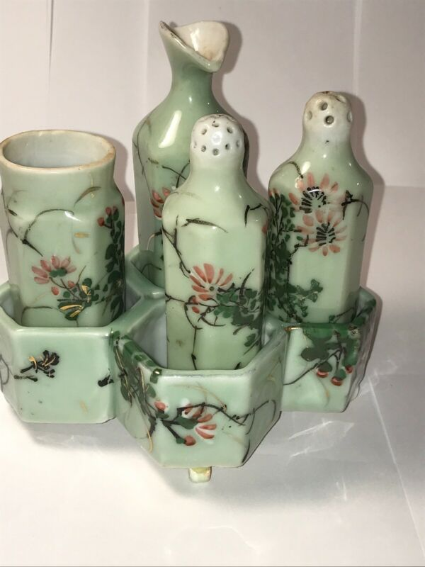Antique Japanese Seto Celadon Meiji Painted Condiment Bottles Tray Enamel Flower