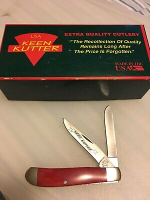 """Red KEEN KUTTER Pocket Knife 2 BLADES 3.5"""" Made In USA With Box"""