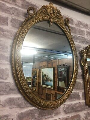 Amazing 19th Century Rococco Oval Mirror Gilt Gesso Frame