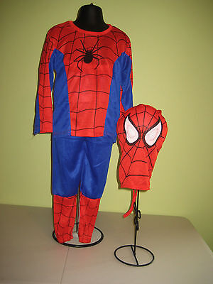 Spiderman Super Hero Costume Dress Up Mask Shirt Pants Fits Sizes 4-10 Washable