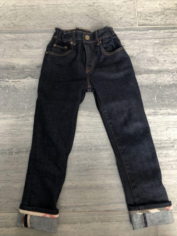 NWT Youth Boys BURBERRY Dark Blue Denim Jeans Pants Size 7 Plaid Cuff