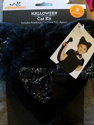 Cat Ears Tail Halloween Costume (Costume Cat Accessory Kit Headband Ears Bow Tie Tail Kids Halloween Black)