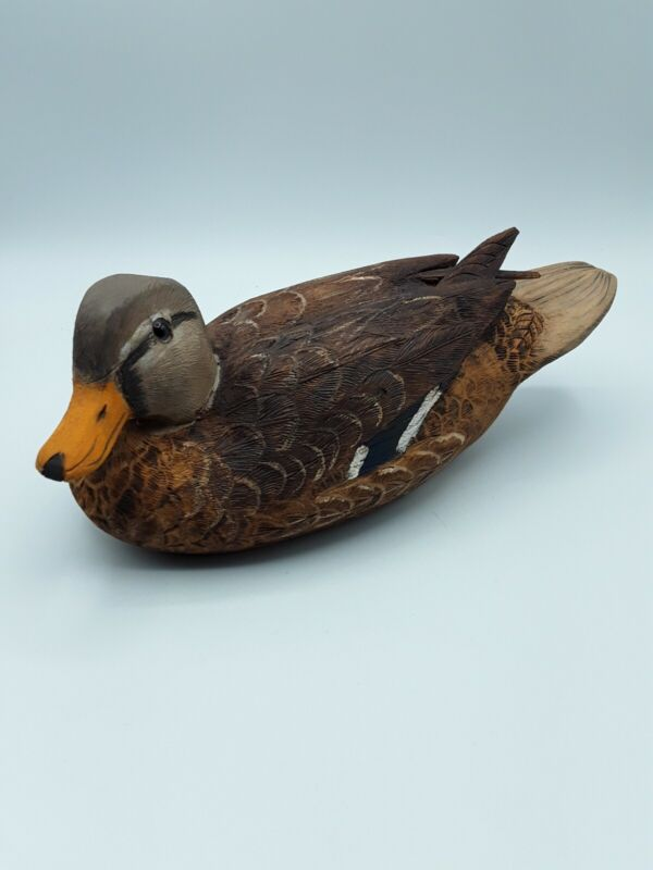 "VINTAGE HAND CARVED & PAINTED WOODEN MALLARD HEY DUCK SIGNED 10"" Long~EXCELLENT~"