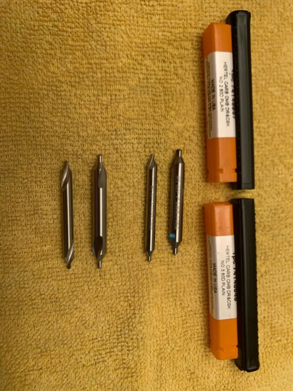 Center drill set inc #2 and #3 Hertel carbide and #2 and #3 HSS