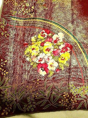 "Gucci Vintage 34 x 34"" Silk Scarf Burgundy w/ Birds & Pansies"